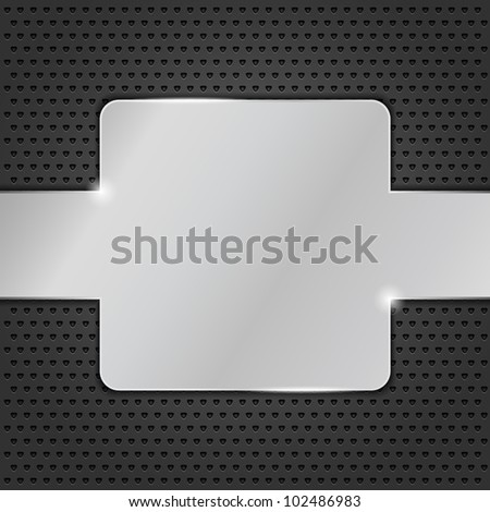 Metal plate on black background, vector eps10 illustration