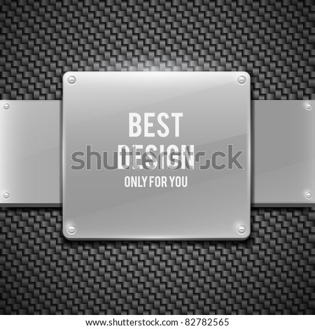 Metal plate on carbon background (vector illustration)
