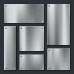 Metal plates. Steel plate, stainless panel chrome tag with screws. Industrial technology metallic blank realistic isolated template vector set