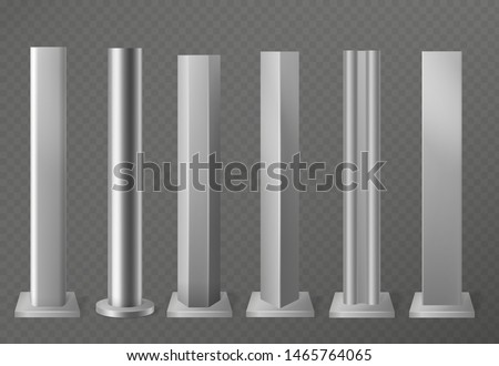 Metal poles. Metalic pillars for urban advertising sign and billboard. Polish steel columns in different section shapes 3d vector street base aluminum constructing set