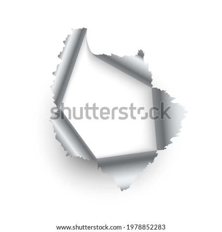 Metal ragged hole. Realistic torn metallic sheet. 3D broken texture template with copy space. Decorative grunge element. Damaged wrapping paper. Vector fissure with silver curved edges Photo stock ©