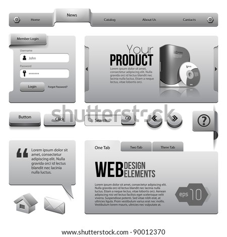 Metal Ribbons Website Design Elements: : Buttons, Form, Slider, Scroll, Icons, Tab, Menu, Navigation Bar