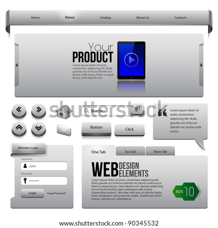 Metal Ribbons Website Design Elements 2: Buttons, Form, Slider, Scroll, Icons, Tab, Menu, Navigation Bar