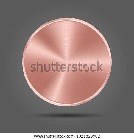 Metal rose plate icons. Pink badge medal. Vector app background
