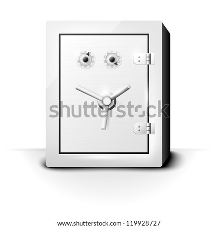 Metal safe with combination locks on white background
