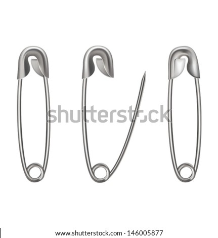 Metal safety pin on white background. Vector illustration