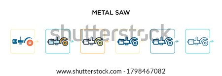 metal saw vector icon in 6