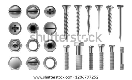 Metal Screw Set Vector. Stainless Bolt. Hardware Repair Tools. Head Icons. Nails, Rivets, Nuts. Realistic Isolated Illustration