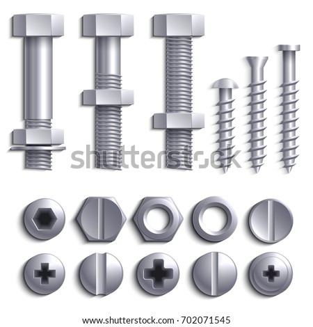 Metal screws, steel bolts, nuts, nails and rivets isolated on white vector set. Construction steel screw and nut, rivet and bolt metal illustration