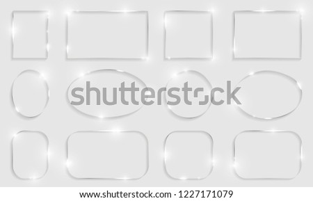 Metal shiny glowing frames set with shadows isolated on white background. Pack of silver luxury realistic square, round, oval borders. Vector illustration