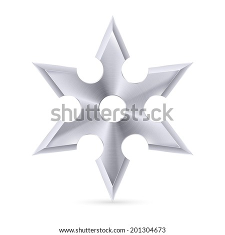 metal shuriken with six tips on