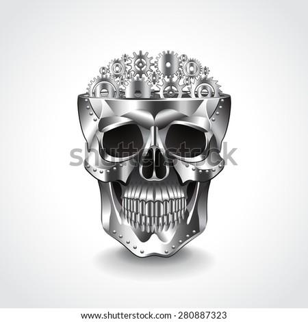 metal skull  brain from gears