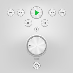 Metal Sound Control Knob and Buttons. Vector illustration.