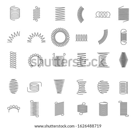 Metal spiral spring. Metallic coils, motor machine spiral sign, wire springs and steel curved flexible coils. Linear spirals silhouette isolated vector industrial twisted icons set Stockfoto ©