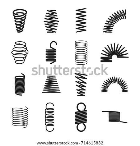 Metal spring icon. Elastic objects for clocks, music boxes, windup toys, machine industry. Vector line art illustration isolated on white background