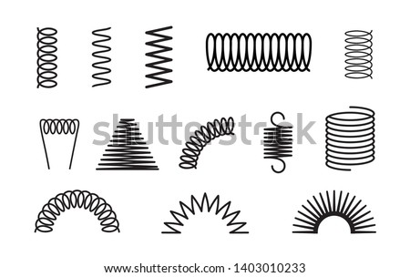 Metal spring set spiral coil flexible icon. Wire elastic or steel spring bounce pressure object design.