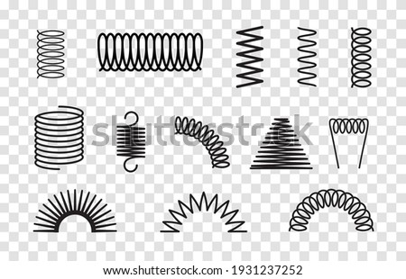 Metal spring set spiral coil flexible icon. Wire elastic or steel spring bounce pressure object design Сток-фото ©