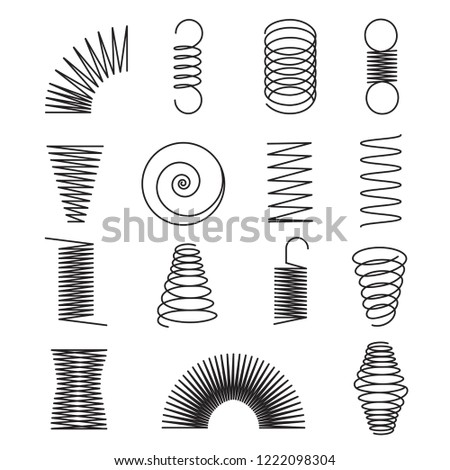 Metal springs. Spiral lines, coil shapes isolated vector symbols