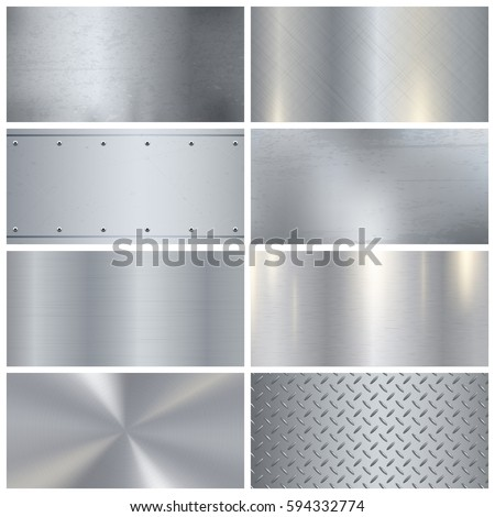 Metal surface finishing texture realistic icons collection with satin brushed and polish samples