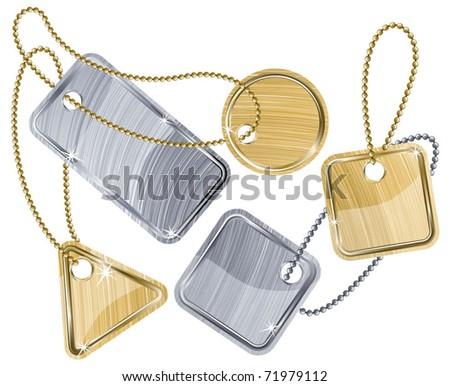 Metal tags. Vector.