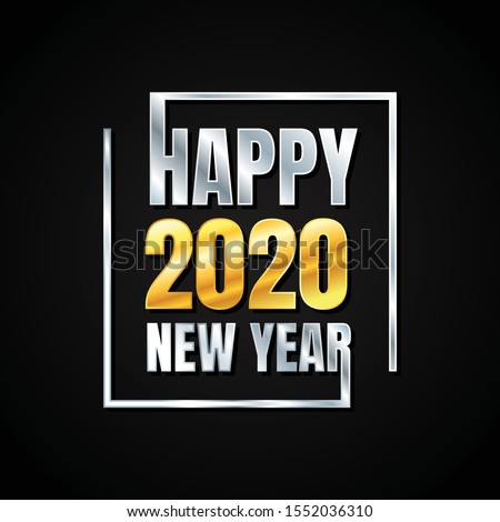 Metal text Happy New Year 2020 for element design. Background or poster design on the black background. Vector illustration EPS.8 EPS.10