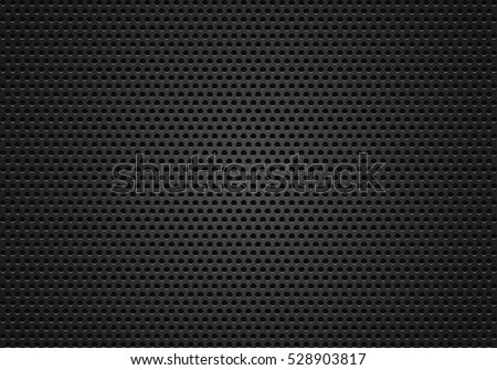 Metal texture background, a vector black, metal or plastic background with holes