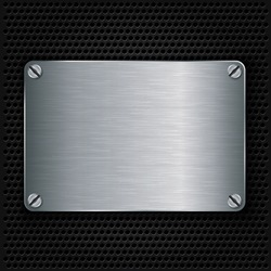 Metal texture plate with screws, vector illustration