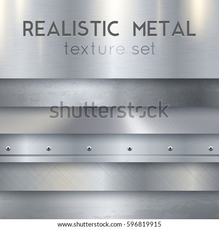 Metal texture realistic sheets horizontal banners set of panels surface finish patterns samples with rivets vector illustration