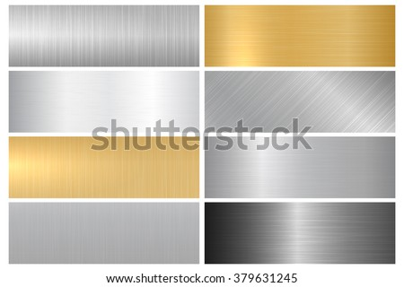 stock vector metal textures vector collection of metallic textures panels and banners for your design and 379631245 - Каталог — Фотообои «Текстуры»