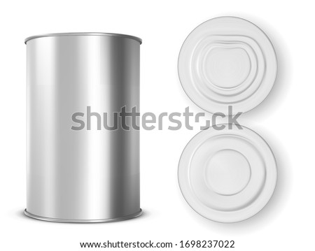 Metal tin can for food front, top and bottom view. Vector realistic mockup of blank aluminum container, round steel pack for soup, milk, beans or meat isolated on white background Stock photo ©