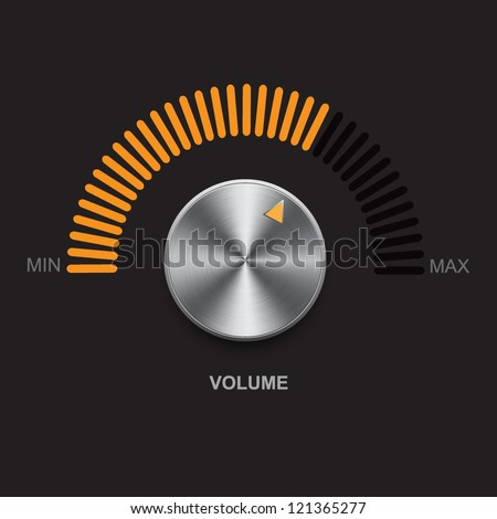 Metal volume button (steel, chrome), gold scale. Vector illustration.