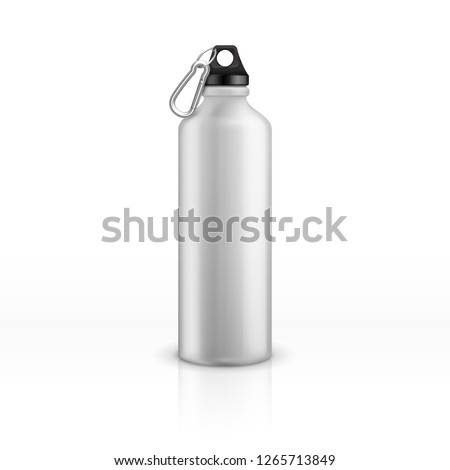 Metal water bottle. White realistic reusable drink flask. Fitness sports stainless thermos. Closeup vector isolated mockup