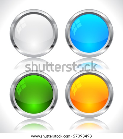 Metal web buttons. Vector eps10.