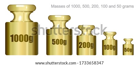 Metal weights to determine weight. Calibration weights. Calibration Weight Laboratory Set. Vector illustration of Instrument for Measurement Accuracy Mass.
