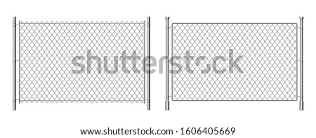 Metal wire fence. Realistic 3D chainlink background, prison security steel fence isolated on white. Vector metal grid fence for separation barrier industries construction safety Stok fotoğraf ©