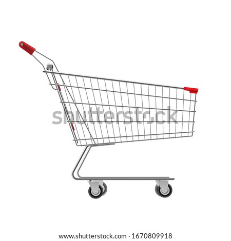 Metal wire small shopping cart for mall, supermarket trolley. Empty bag on wheels to carry heavy items, purchasing. Vector metal trolley illustration