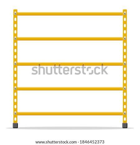 Metal yellow standing rack. Empty metallic storage shelves isolated on white. Warehouse equipment and tools. Logistic and delivery, store interior parts. Cartoon flat vector illustration