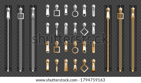 Metal zip fasteners, silver golden zippers with differently shaped puller and closed black fabric tape, clothing hardware isolated on transparent background, Realistic 3d vector illustration, set Сток-фото ©