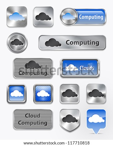 Metallic and glossy collection of Cloud computing and cloud elements. Vector illustration