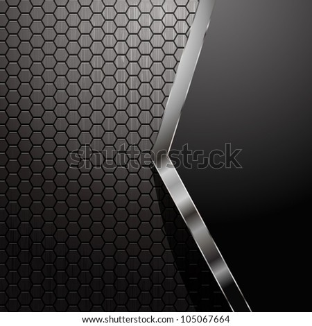 Metallic backdrop with hexagon grid and copy space - no transparency or raster effect