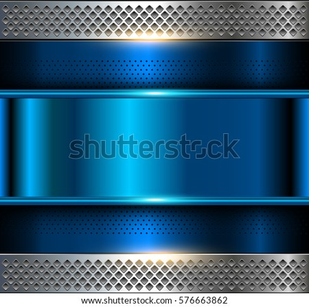Metallic background, blue metal perforated texture, vector polished metal