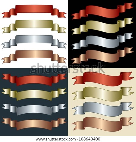 Metallic Banners in different styles and colors against a variety of backgrounds
