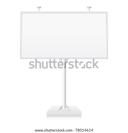 Metallic billboard with place for your text. Illustration on white background
