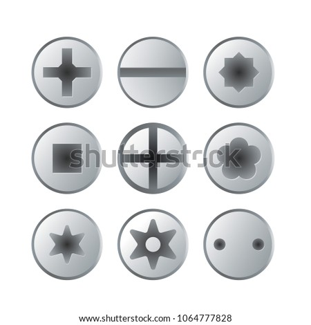 Metallic bolts and screws heads collection isolated on white background. Construction hardware elements, building and repairs steel accessories, mechanic fitting work tools vector illustration.
