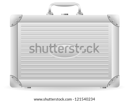metallic briefcase vector illustration isolated on white background