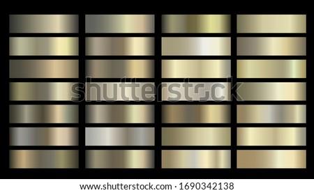 Metallic, bronze, gold, silver, chrome, copper metal foil texture gradient template Vector swatch set. Metallic gradient illustration gradation for backgrounds, banner interface Vector template design