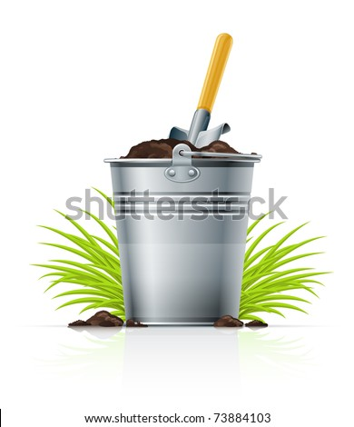 metallic bucket with ground and shovel vector illustration isolated on white background