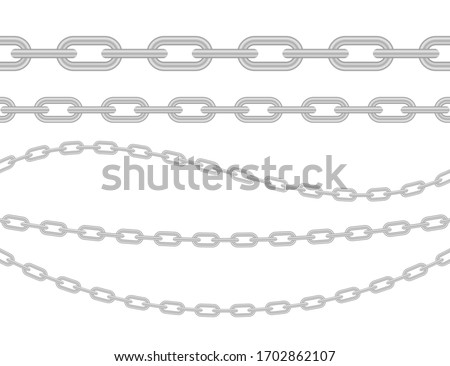 Metallic Chain. Block chain. Collection of seamless metal chains colored silver. Vector stock illustration. stock photo