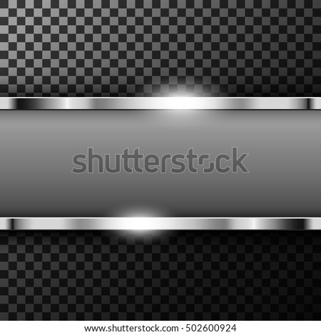 Metallic chrome banner with text space on transparent textured vector illustration