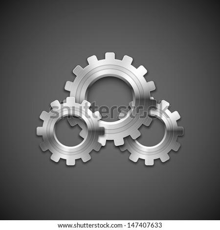 metallic cogwheels with brushed